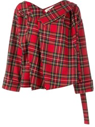 Awake Asymmetric Tartan Jacket Red