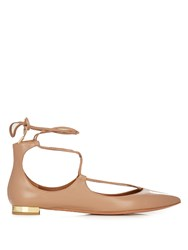 Aquazzura Christy Leather Flats Beige