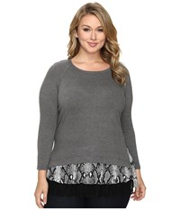 Karen Kane Plus Size Snake Print Inset Sweater Top Dark Heather Grey Black Women's Sweater Blue