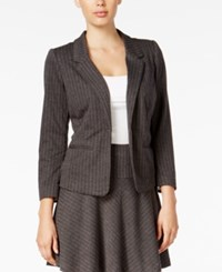 Kensie Herringbone Single Button Blazer Heather Dark Grey Combo