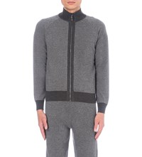Corneliani Contrast Trim Cashmere And Virgin Wool Blend Tracksuit Top Mid Grey