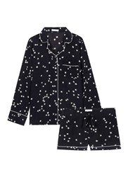 Equipment 'Lillian' Star Print Silk Pyjama Set Black