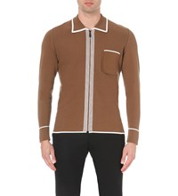 Burberry Contrast Detail Knitted Cardigan Ochre Brown