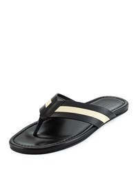 Venzio Calf Leather Thong Sandal Black Bally Red
