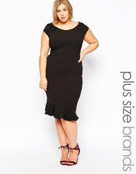 Goddiva Plus Size Midi Dress With Ruffle Hem Black