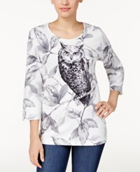 Alfred Dunner Owl Print Top Multi