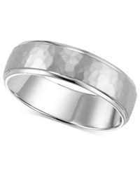 Macy's 14K White Gold Engraved 6Mm Wedding Band No Color