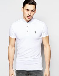 Antony Morato Jersey Polo Shirt With Chest Badge White