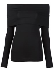 Yigal Azrouel Off Shoulder Long Sleeve Top Black