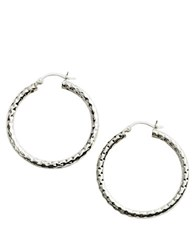 Lord And Taylor Sterling Silver Hammered Hoop Earrings