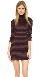 Edith A. Miller Turtleneck Mini Dress Black Red Navy Stacked Stripe