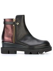 Studio Pollini Metallic Panel Ankle Boots Black