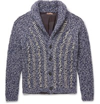 Etro Overized Hawl Collar Ditreed Melange Wool Cardigan Blue