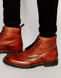 Base London Troop Lace Up Leather Boots Red Tan