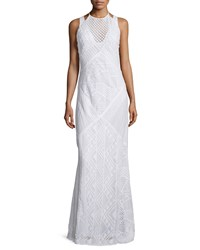 French Connection Rene Geometric Lace Maxi Dress Summer White Women's