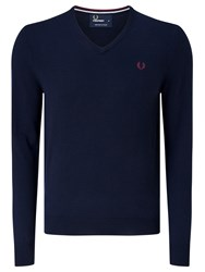 Fred Perry Classic Tipped V Neck Sweater Dark Carbon