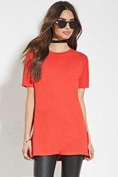 Forever 21 Boxy Longline Tee Red