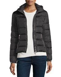 Moncler Oiron Quilted Puffer Coat W Leather Trim Black