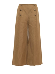 Sonia Rykiel Button Detail Cropped Wide Leg Trousers