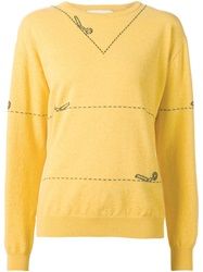 Moschino Cutting Scissors Intarsia Sweater Yellow And Orange