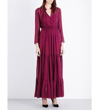 Saloni Alexia Chiffon Maxi Dress Dark Plum