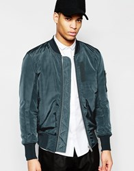 Asos Bomber Jacket With Ma1 Pocket In Teal Green
