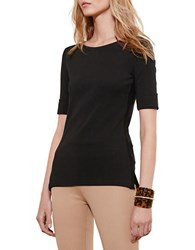 Lauren Ralph Lauren Petite Stretch Cotton Boatneck Tee Black