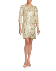 Vince Camuto Shimmer Sheath Dress Gold