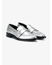 Christopher Kane Leather Penny Loafers Silver Black Metallic Silver