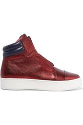 Atelje 71 Metallic Textured Leather High Top Sneakers