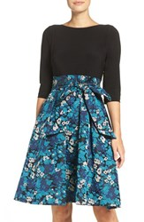 Adrianna Papell Women's Jersey And Jacquard Fit And Flare Dress