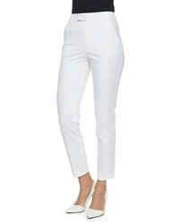 Red Valentino Straight Leg Gabardine Ankle Pants White