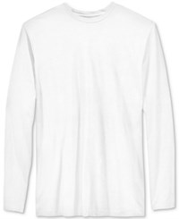 Alfani Men's Big And Tall Solid Long Sleeve Cotton Stretch T Shirt Bright White