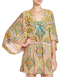 Trina Turk Capri Lace Up Tunic Swim Cover Up Orange Sherbet