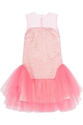 Delpozo Tulle And Jacquard Mini Dress Pink Metallic