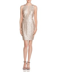 Aqua Illusion Inset Sequin Dress Champagne Silver