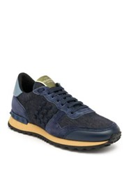 Valentino Studded Denim Suede And Leather Sneakers