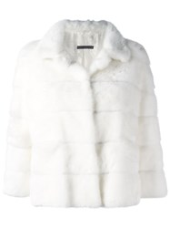 Simonetta Ravizza Cropped Fur Jacket White