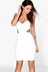 Boohoo Sweetheart Cut Out Side Bodycon Dress Ivory