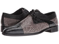 Stacy Adams Rivello Leather Sole Modified Cap Toe Oxford Black Gray Men's Lace Up Cap Toe Shoes