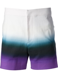Raf Simons Tricolour Gradient Shorts Pink And Purple