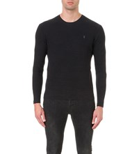 Allsaints Logo Embroidered Cotton Knitted Jumper Cinder Black M