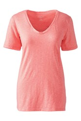 Lands' End Cotton Modal Slub V Neck Tee Pink