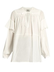Rachel Comey Willow Ruffle Trimmed Blouse White