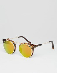 Jeepers Peepers Round Sunglasses In Tort With Yellow Lens Brown
