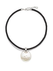 Majorica 28Mm White Organic Circular Man Made Pearl And Leather Necklace