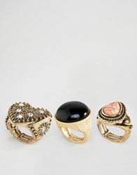 Ny Lon Nylon Cocktail Ring Set Adjustable Size Gold Multi