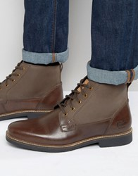 Original Penguin Peguin Lace Up Boots In Brown Leather Brown
