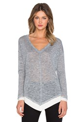 Splendid Melange V Neck Sweater Gray