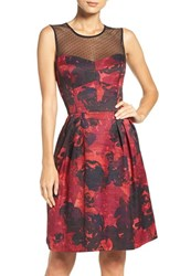 Maggy London Women's Illusion Floral Jacquard Fit And Flare Dress